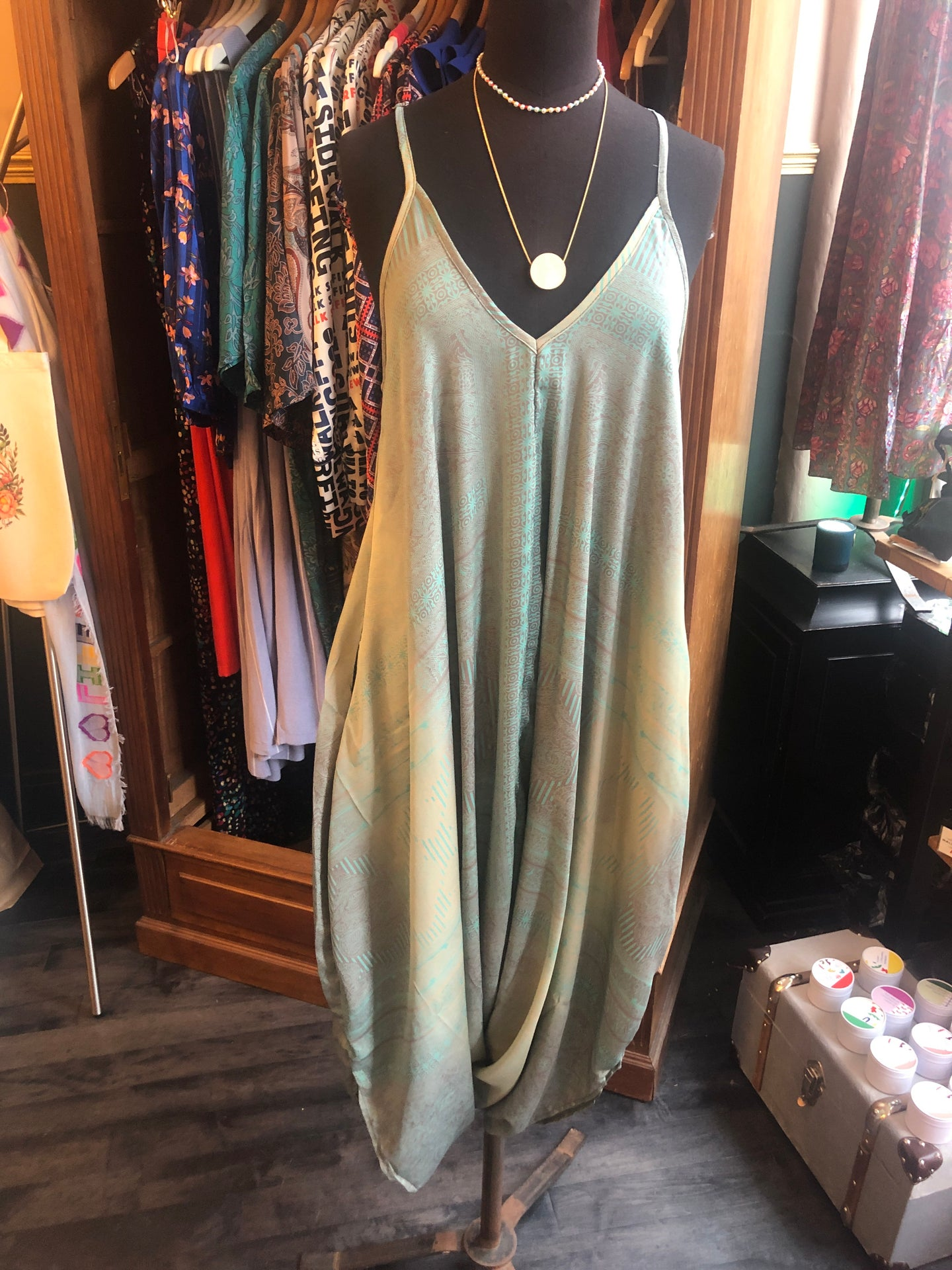 Indian Silk Jumpsuit - One Size - Mint & Grey