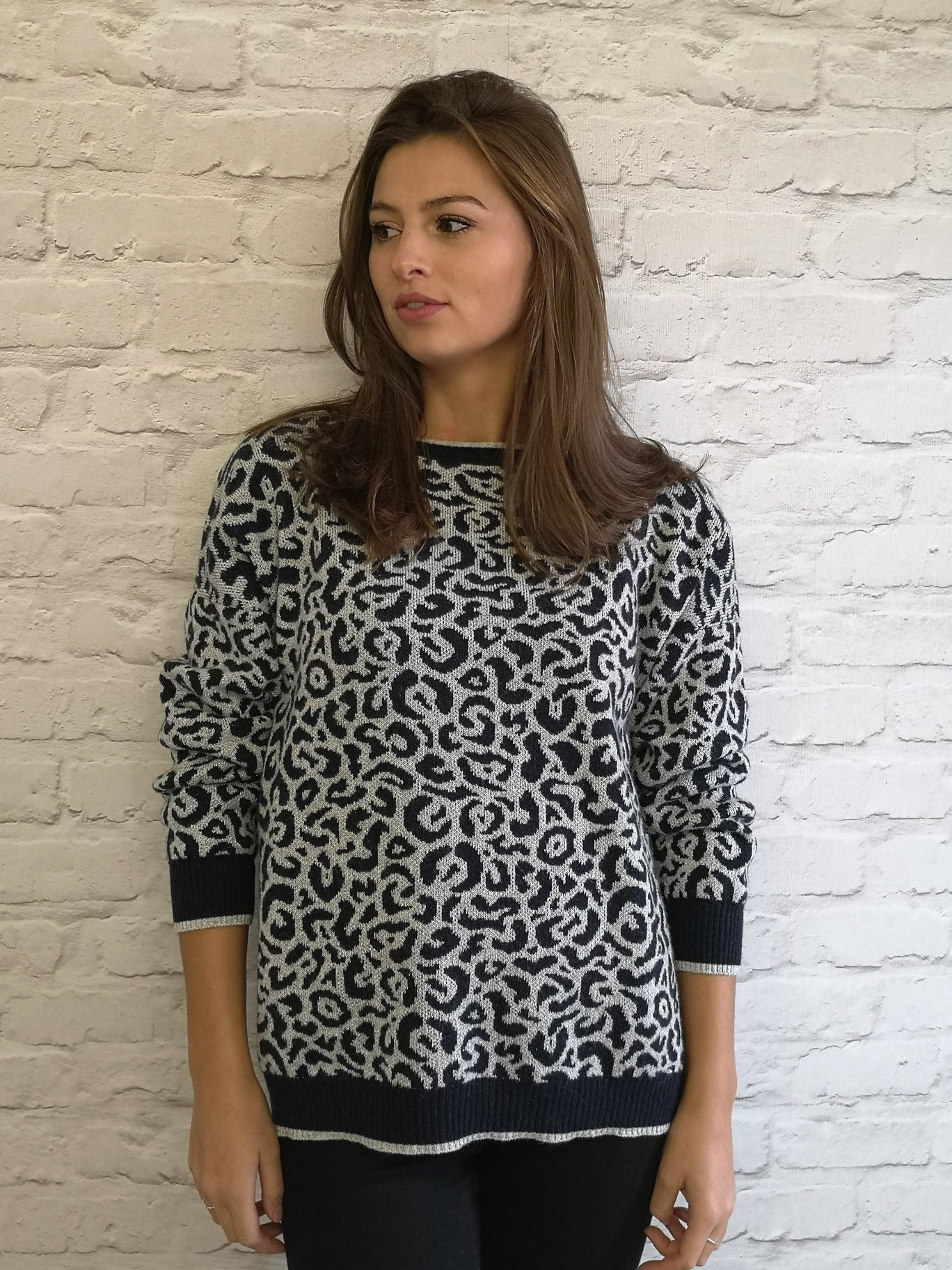 Silver & Navy Leopard Sweater