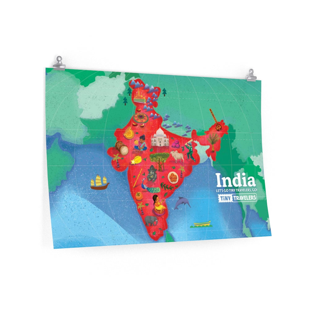 Tiny Travelers India Map Premium Matte Poster