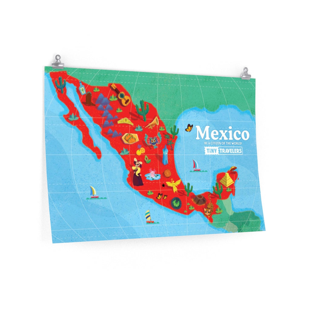 Tiny Travelers Mexico Map Premium Matte Poster