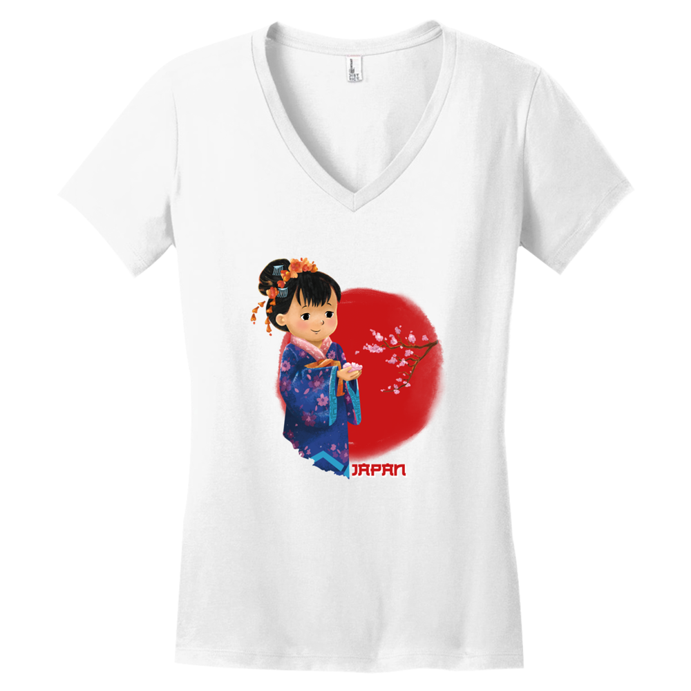 Tiny Travelers Japan Women's V Neck Shirt