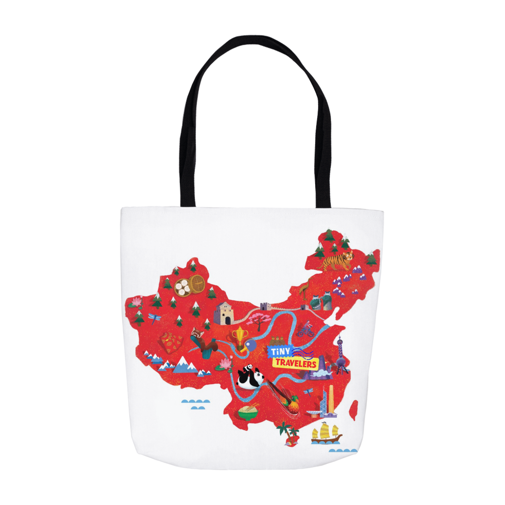 Tiny Travelers China Map Tote Bag