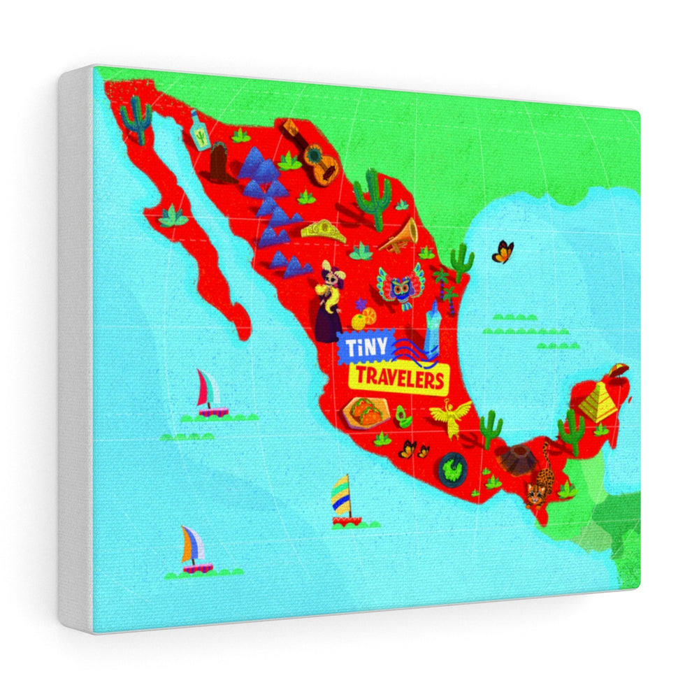 Tiny Travelers Mexico Map Canvas Gallery Wrap