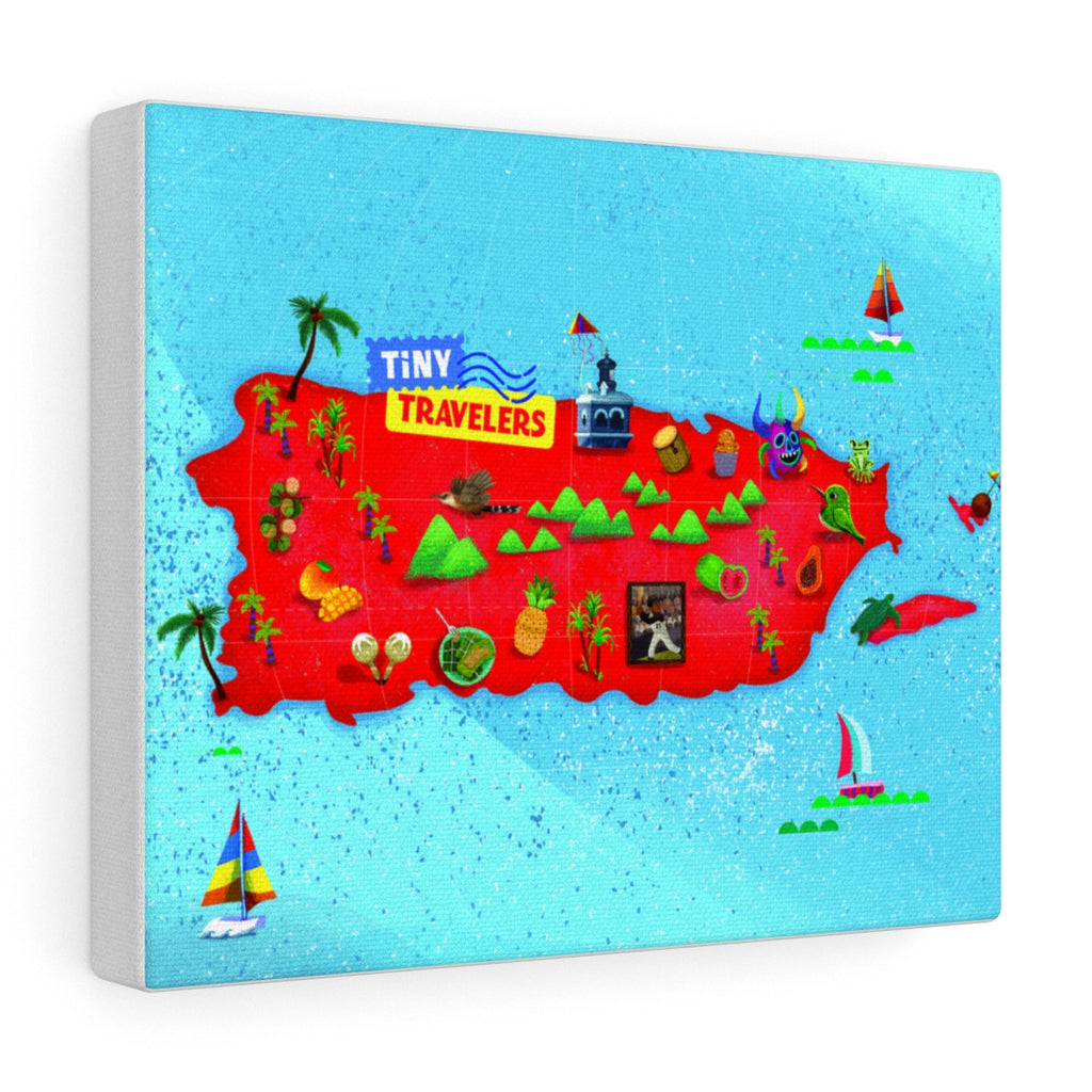 Puerto Rico Map Canvas Gallery Wrap
