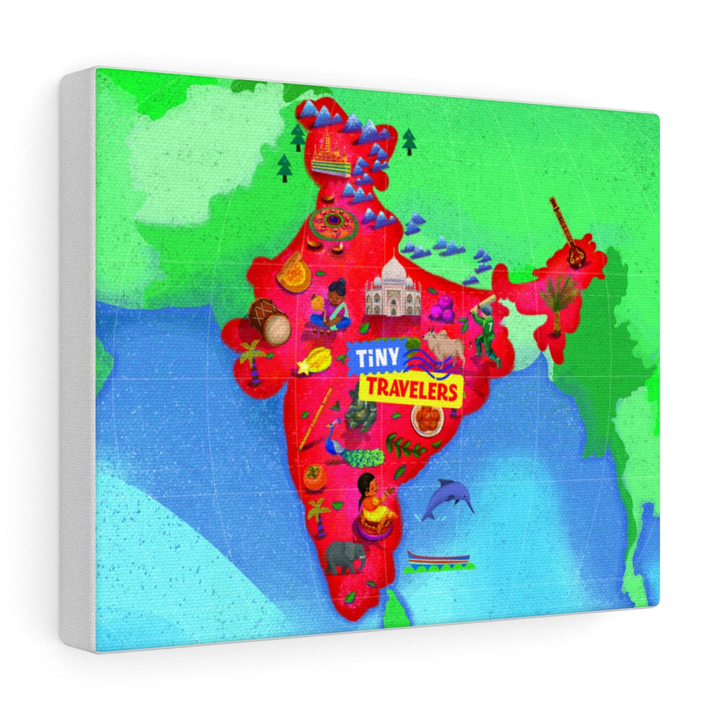 Tiny Travelers India Map Canvas Gallery Wrap