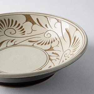 Yachimun Ikutoen arabesque line engraving 7 inch plate white arabesque-adult pottery