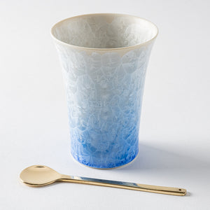 Kyo ware / Kiyomizu ware Touan flower crystal free cup (blue and white)-K00115-Kyo ware / Kiyomizu ware Touan-Adult pottery online shop
