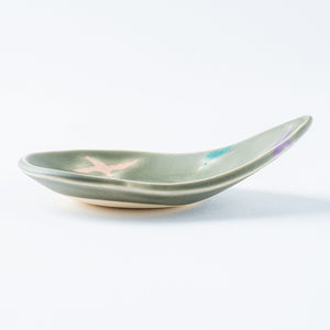 Writer Reimi Shibata Drop Plate-Bird / Gray-K00126-Writer Reimi Shibata-Adult Pottery Online Shop