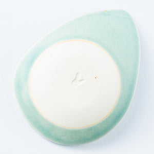 Writer Reimi Shibata Drop Plate-Bird / Green-K00127-Writer Reimi Shibata-Adult Pottery Online Shop