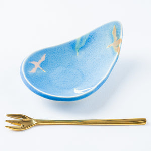 Writer Reimi Shibata Drop Plate-Bird / Blue-K00129-Writer Reimi Shibata-Adult Pottery Online Shop