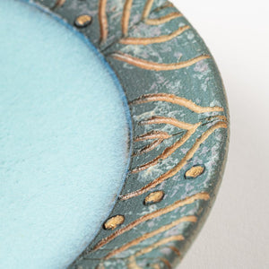 Kasama ware Tofusha Gold Drops 5 inch plate Blue makeup & pale bllue