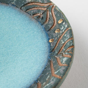Kasama Ware Dongfengsha Gold Drops Small Dish Blue Makeup & Pale Blue