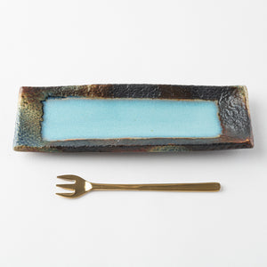 Kasama ware Tofusha strip plate-small pale blue