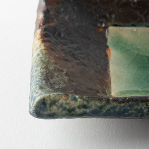 Kasama ware Tofusha strip plate-small green