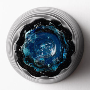 Ryukyu glass studio glass32 blue cave bottom hole mall small -K00349- Ryukyu glass studio glass32