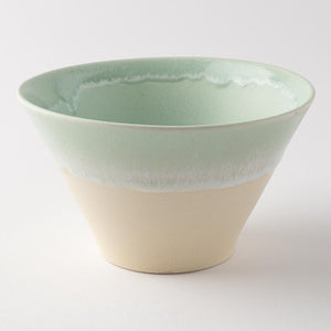 Mino ware Shinko kiln Pastel jelly warp bowl Green x cream (M) -K00288- Mino ware Shinko kiln