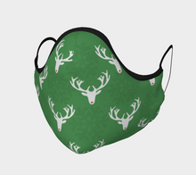 "Load image into Gallery viewer, Mels Holiday ""Green Rudolph"" Face Mask"