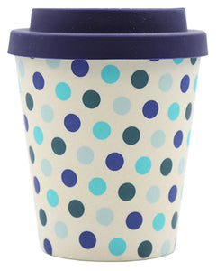 Blue Polka Dot 8oz Bamboo Cup