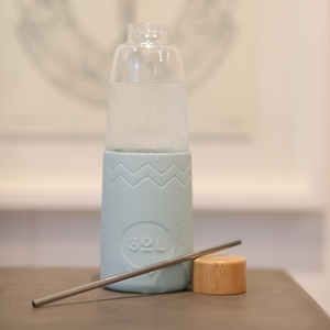 Cyan SoL Glass Water Bottle