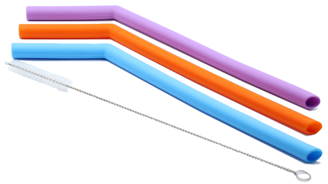 Jumbo Silicone 3 Colour Straw Set