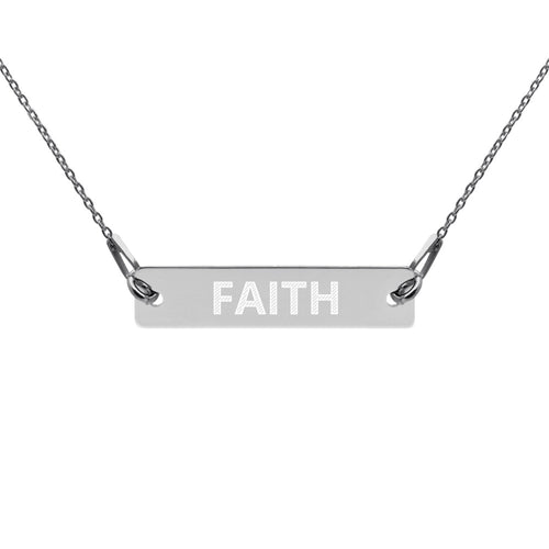Engraved Silver Bar Chain Necklace - Living Your Life Without Limits Shop