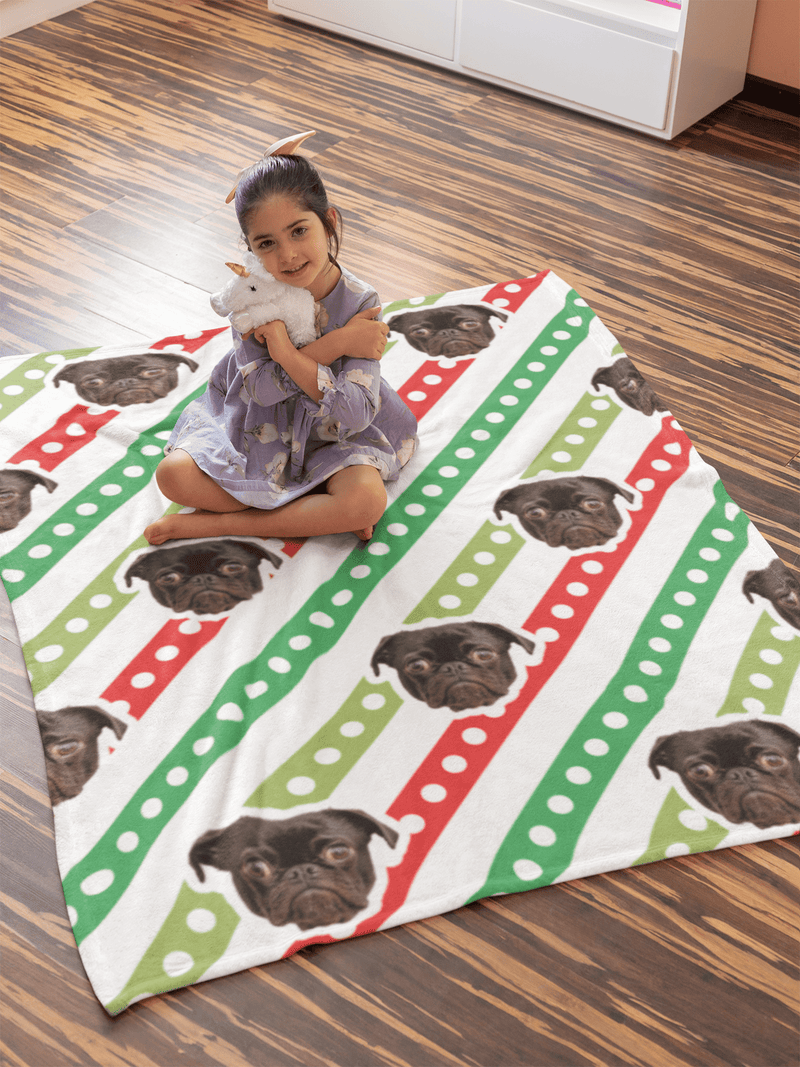 "GiftForPet Xmas Stripe / Twin / Full (60"" x 50"") Pawtern™ Custom Chirstmas Sherpa Blanket Custom Portrait - Personalized Gift"