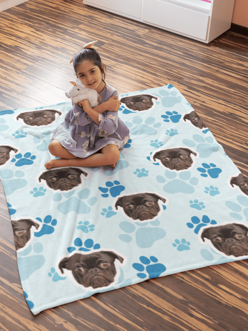 "GiftForPet Twin / Full (60"" x 50"") / Blue Paws Pawtern™ Custom Paw Sherpa Blanket Custom Portrait - Personalized Gift"