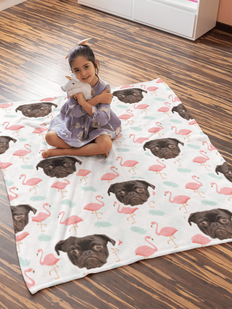 "GiftForPet Twin / Full (60"" x 50"") / Pink Flamingo Pawtern™ Custom Tropical Sherpa Blanket Custom Portrait - Personalized Gift"