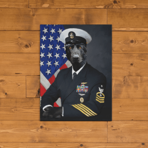 Paw&Bone Pawtrait™ Custom The Military Canvas Custom Portrait - Personalized Gift