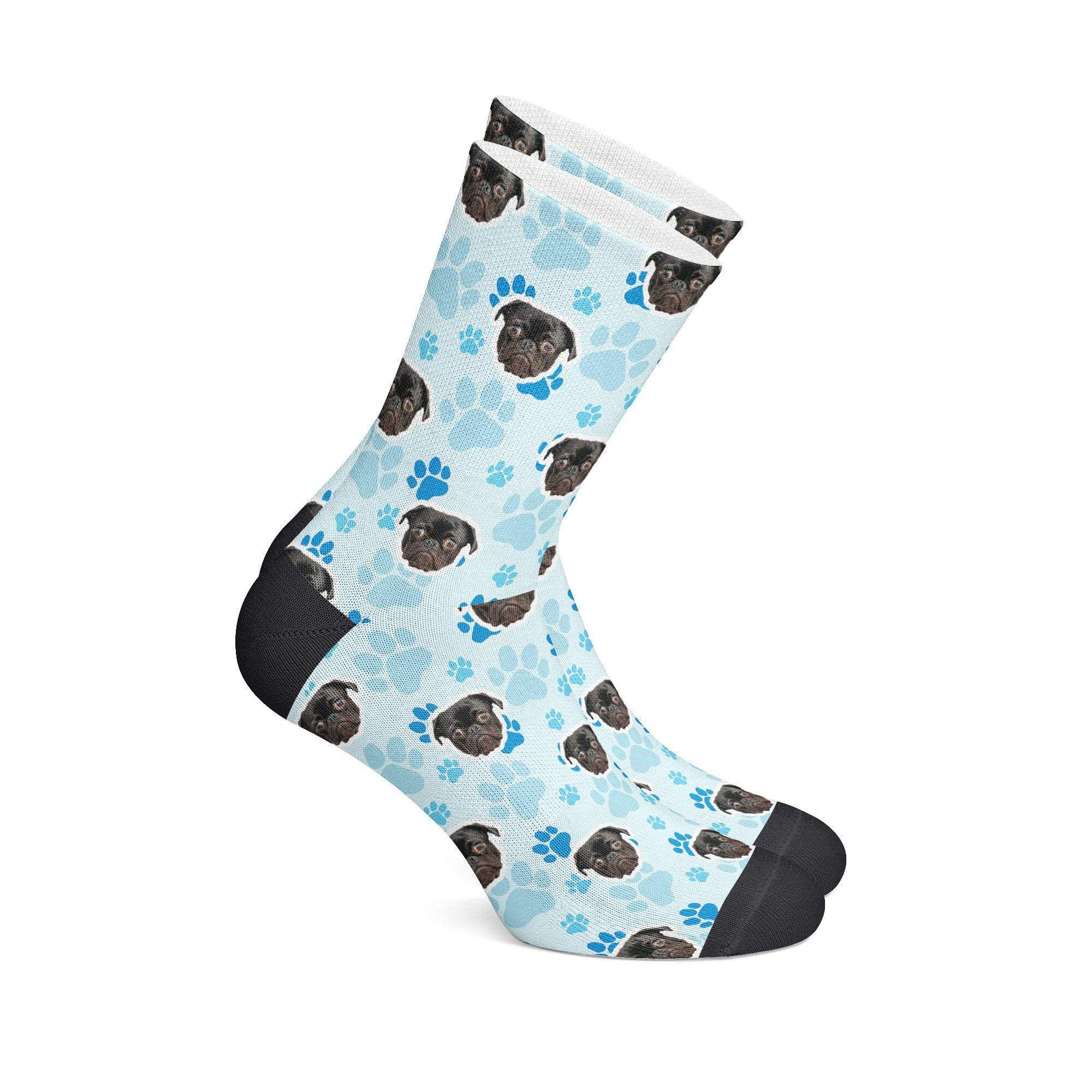 GiftForPet S (Men's 5-6/ Women's 4-8) / Blue Paws Giveaway Paws Socks Custom Portrait - Personalized Gift