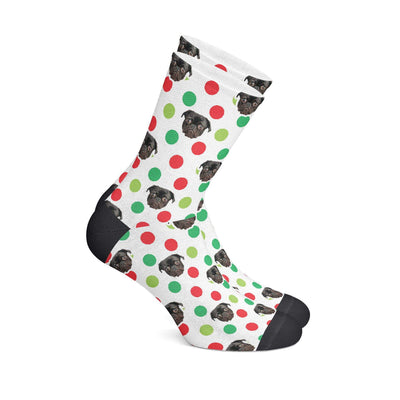 GiftForPet S (Men's 5-6/ Women's 4-8) / Xmas Dots Giveaway Christmas Socks Custom Portrait - Personalized Gift