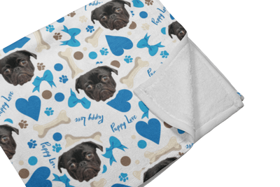 "GiftForPet Twin / Full (60"" x 50"") / Blue Heart Bones Pawtern™ Custom Paw Sherpa Blanket Custom Portrait - Personalized Gift"