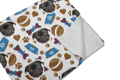"GiftForPet Twin / Full (60"" x 50"") / Chocolate Bones Pawtern™ Custom Paw Sherpa Blanket Custom Portrait - Personalized Gift"