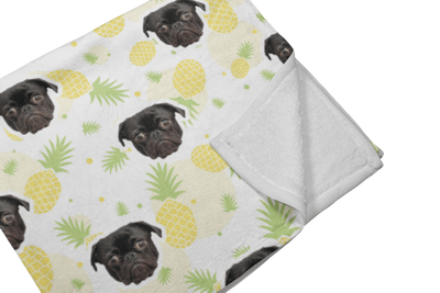 "GiftForPet Twin / Full (60"" x 50"") / Pinapple Pawtern™ Custom Tropical Sherpa Blanket Custom Portrait - Personalized Gift"