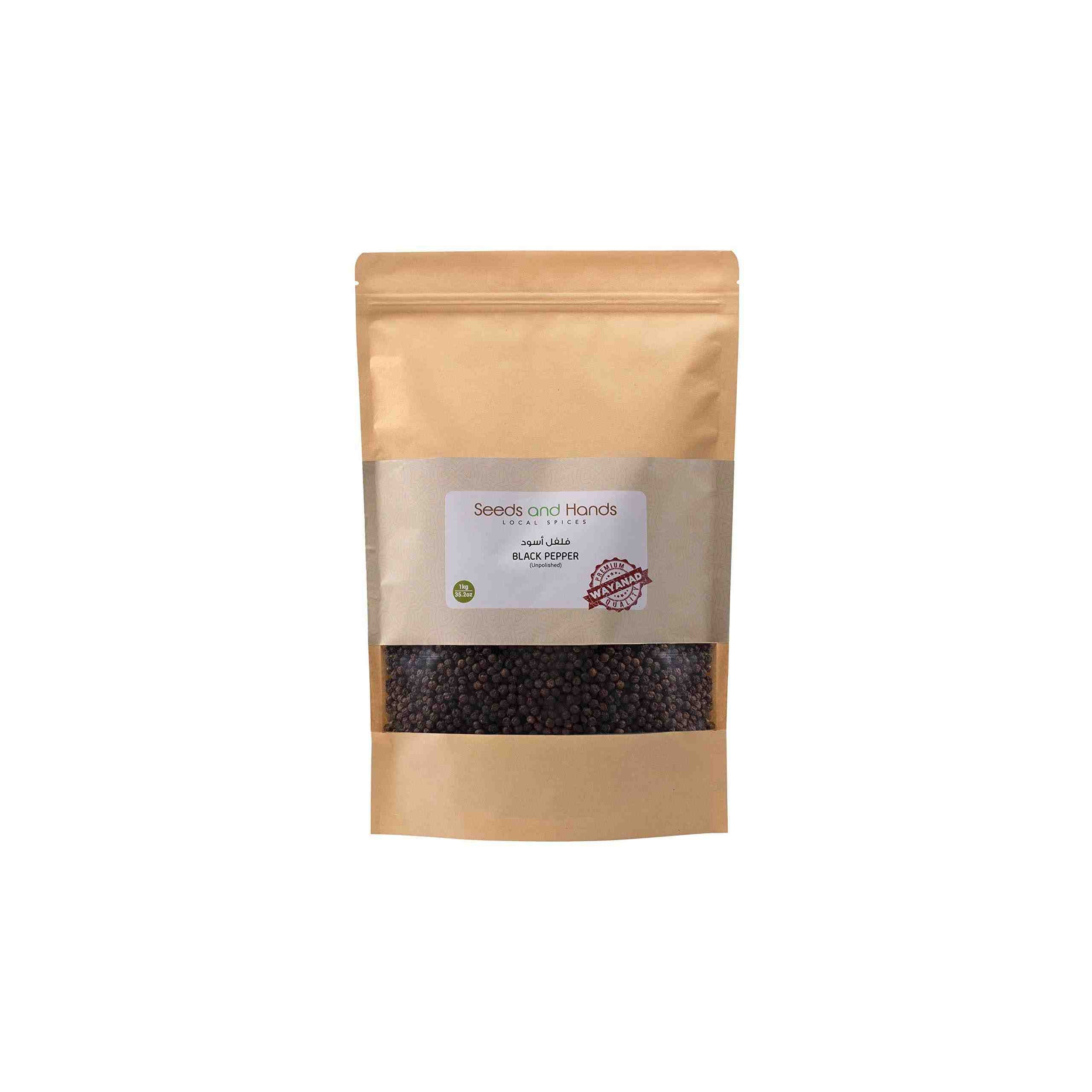 Seeds and Hands Tellicherry Special Extra Bold Black Pepper/Kali Mirch Whole (Super Saver Pack 1kg)