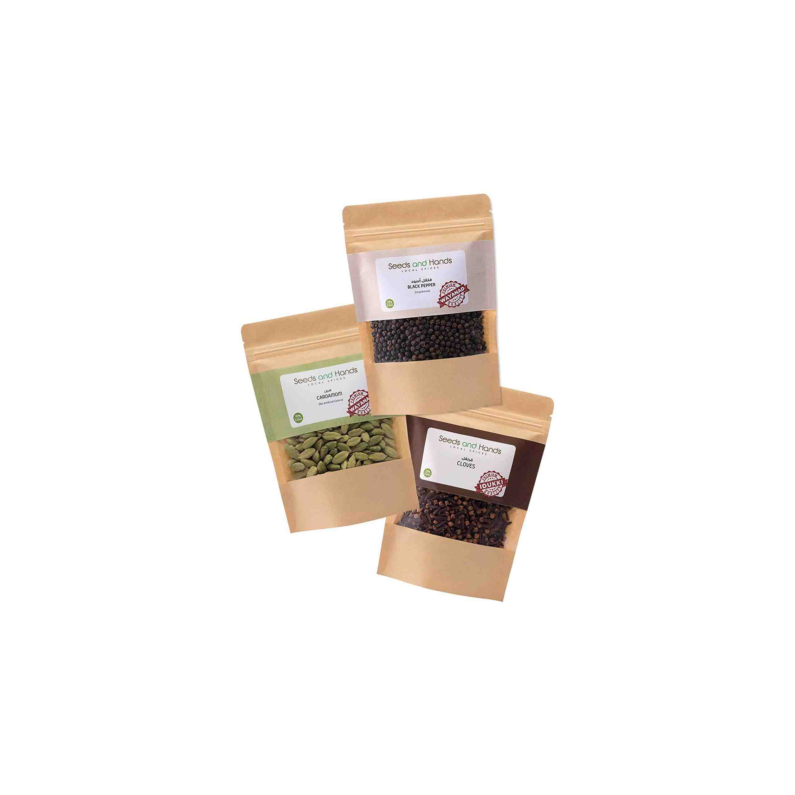 Seeds and Hands Whole Spice Combo (Black Pepper 100g, Cardamom 100g, Cloves 100g)