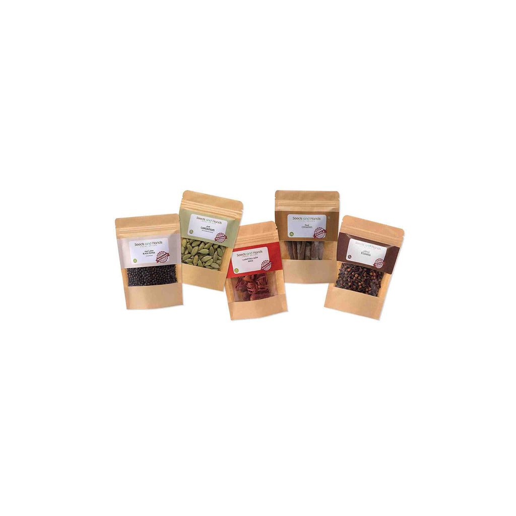 Seeds and Hands Whole Spice Combo (Black Pepper 50g, Cardamom 40g, Cinnamon Sticks 50g, Cloves 30g, Mace 10g)