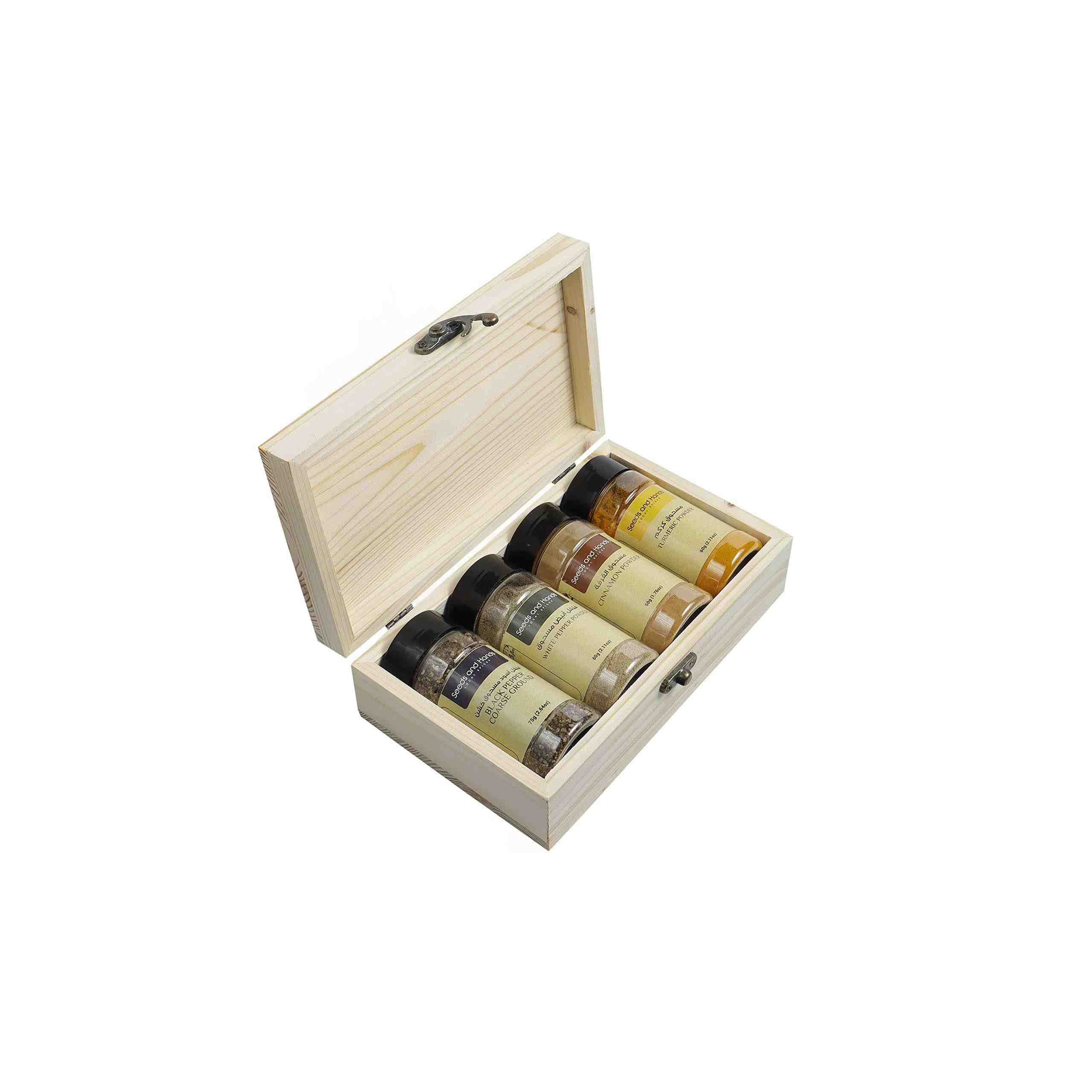 Seeds and Hands Spices Powder Eco-Friendly Gift Box (Black Pepper Coarse Ground, Cinnamon Powder, White Pepper Powder, Turmeric Powder)