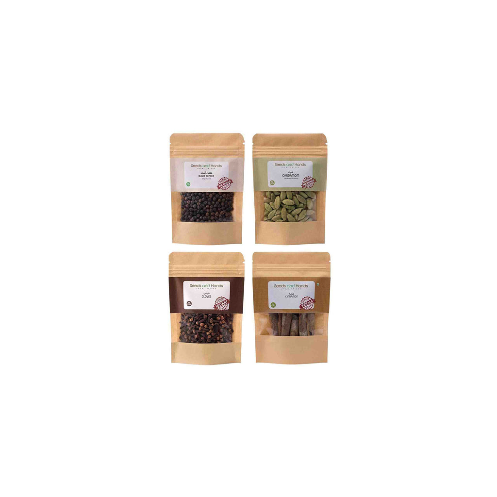 Seeds and Hands Whole Spice Combo (Black Pepper 50g, Cardamom 40g, Cloves 30g, Cinnamon Sticks 50g)