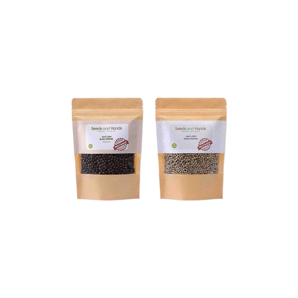 Seeds and Hands Whole Spice Combo (Black Pepper 100g, White Pepper 100g)