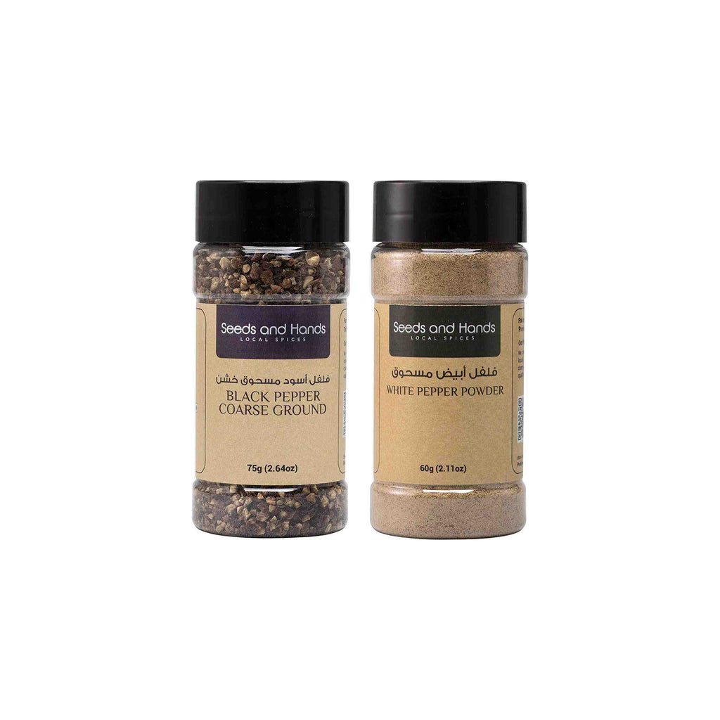 Seeds and Hands Spices Combo Pack (Black Pepper Coarse Ground 75g, White Pepper Powder 60g)