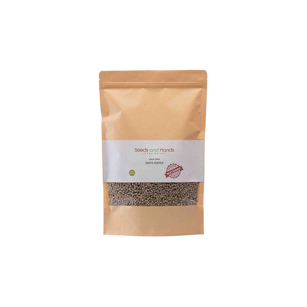 Seeds and Hands Wayanad White Pepper/Safed Mirch Whole [Pesticide Free] (Super Saver Pack 1kg)