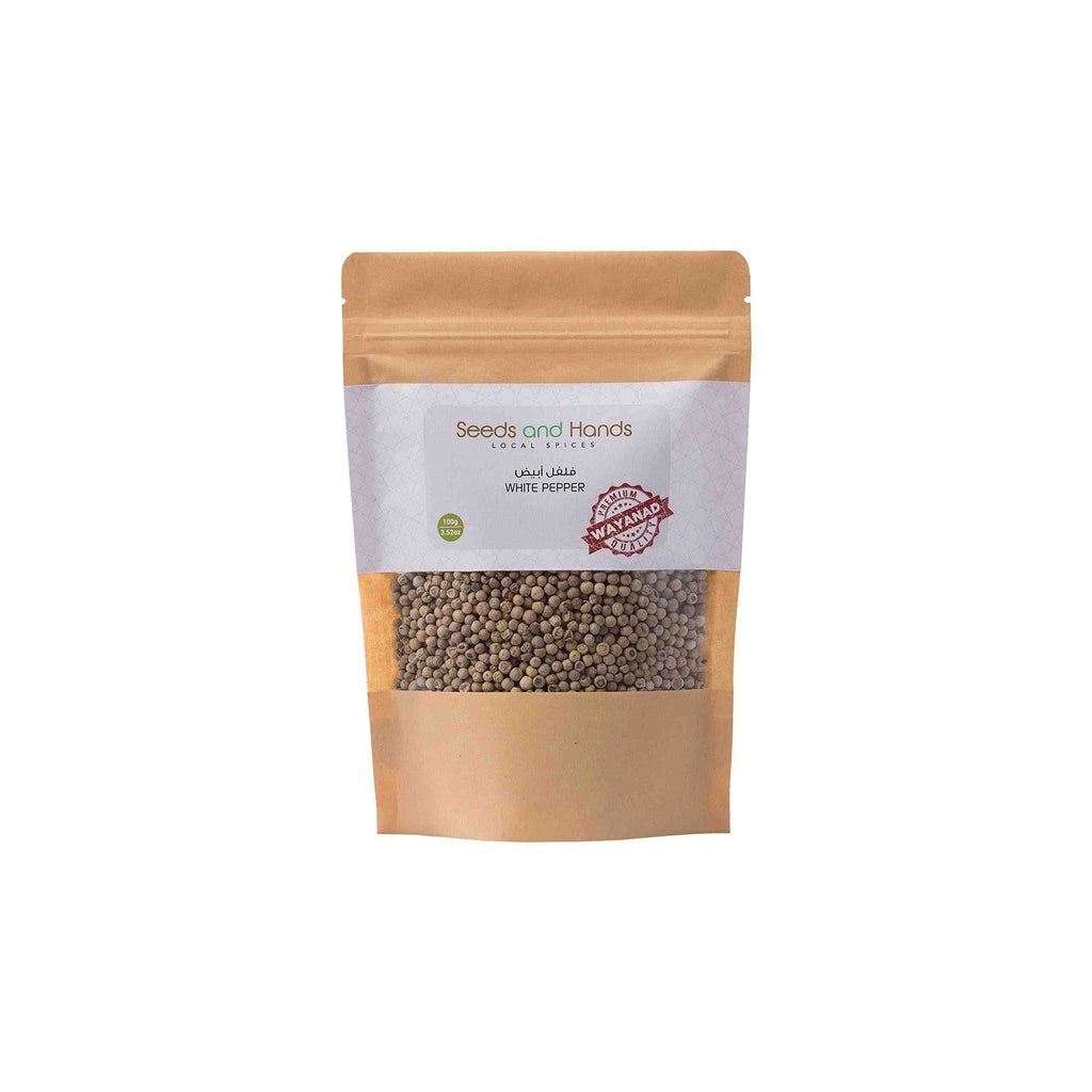 Seeds and Hands Wayanad White Pepper/Safed Mirch Whole [Pesticide Free] Pack of 2 x 100g (200gm)