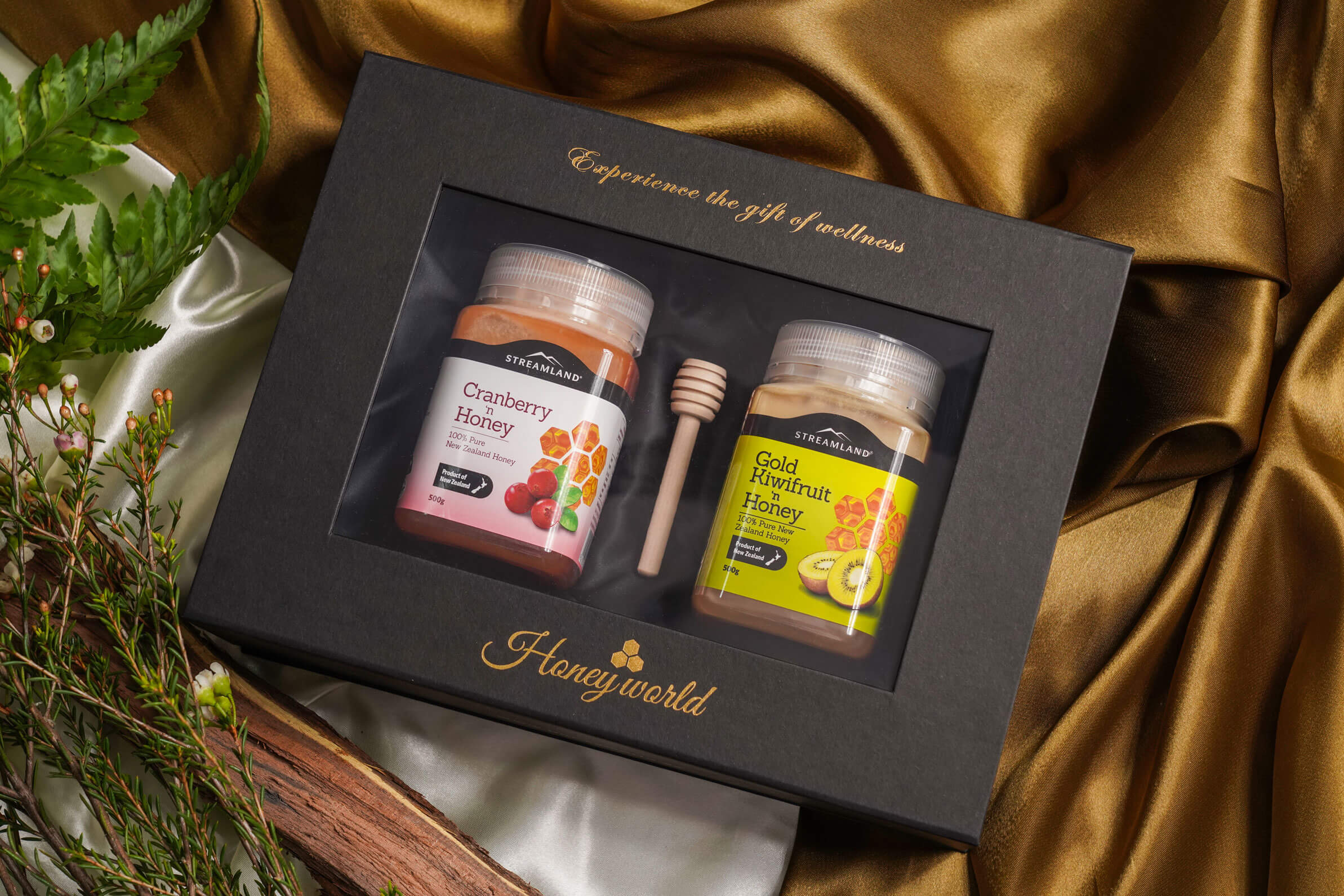 STREAMLAND Fruitilicious Honey Gift Pack of 2 - Cranberry and Gold Kiwi 500GRM