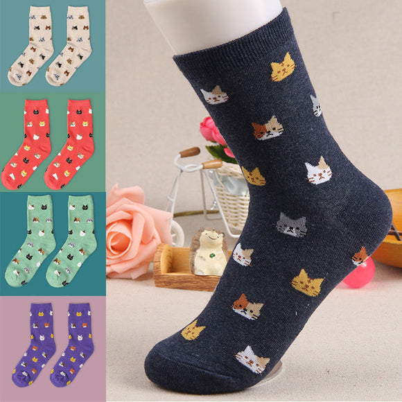 Cute Cartoon Cat Print Socks