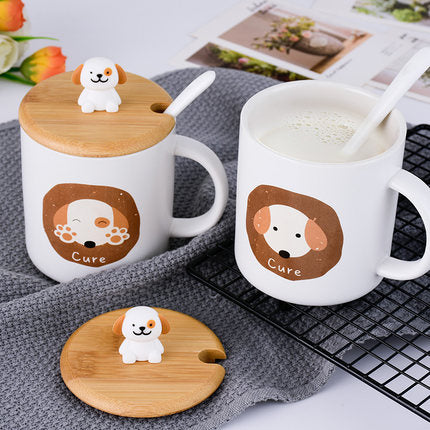 Cute Ceramic Dog Mug with Spoon