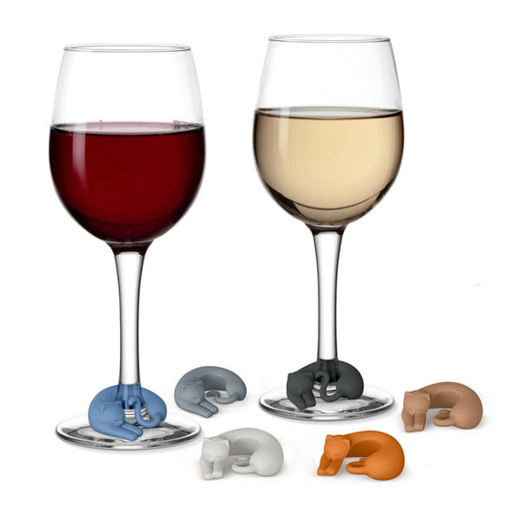 6PC Animal Shape  Silicone Cup Cat Charms for Wine Glass