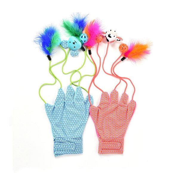 Interactive Cat Glove With Bell Balls Feather