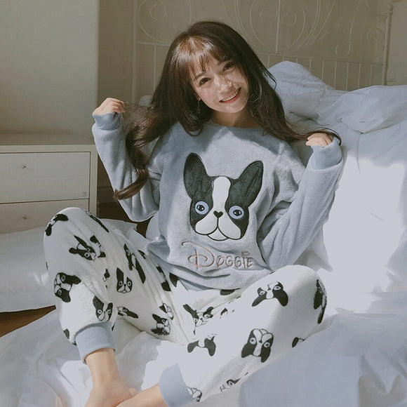 Cute Cartoon Dog Pattern Pajamas