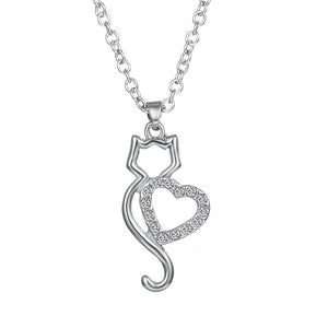 Stainless steel cat/heart Pendant necklace
